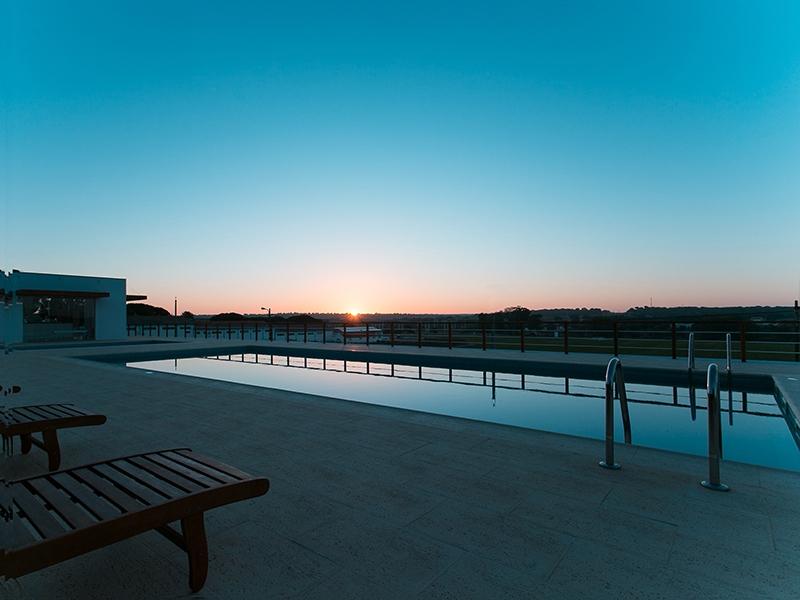 swimming pools at sunrise